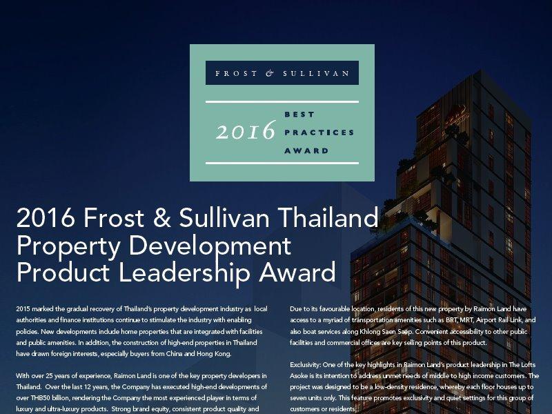 2016 Frost & Sullivan Thailand Property Development Product Leadership Award