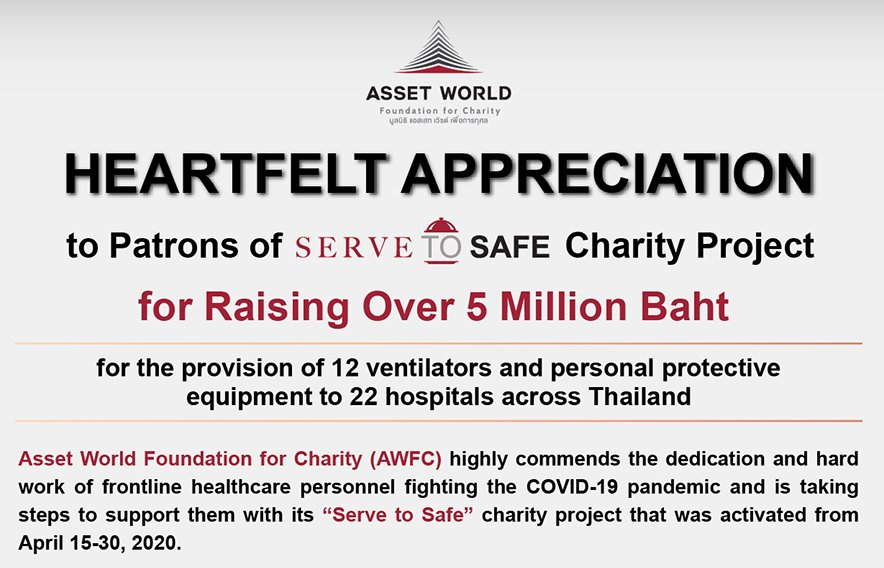 Heartfelt Appreciation to Patrons of 'Serve to Safe' Charity Project for Raising Over 5 Million Baht for the provision of 12 ventilators and personal protective equipment to 22 hospitals across Thailand